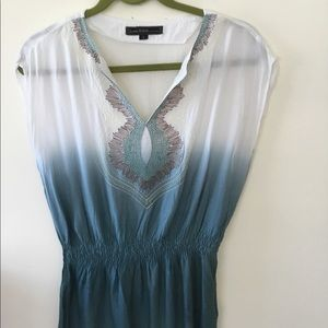 Love Stitch white and turquoise longer blouse. S